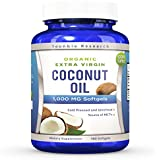 Coconut Oil Capsules - 180 Organic Extra Virgin Softgels 1000 mg - Great Pills for Hair, Skin, Energy and Weight Management (1 Pack)