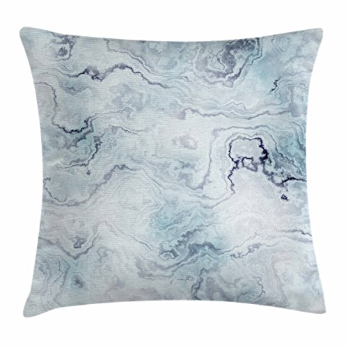 Ambesonne Marble Throw Pillow Cushion Cover, Soft Pastel Toned Abstract Hazy Wavy Pattern with Ottoman Influences Image, Decorative Square Accent Pillow Case, 16 X 16 Inches, Light Blue Grey Mint