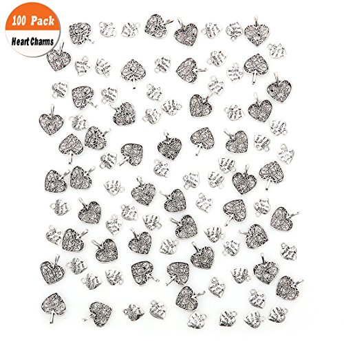 Heart Shaped Key Charm - 100 Pack Love Heart Charms Pendants, Buytra Heart-Shaped Metal