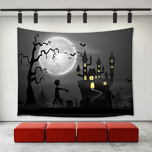 LBKT Gothic Decor Tapestries Wall Hanging for Halloween Party,Happy Halloween Eve Theme Castle Tomb Ghost Zombie Tree Bats Moon Night Pattern Print Tapestry Wall Art for Home Decor Decoration -