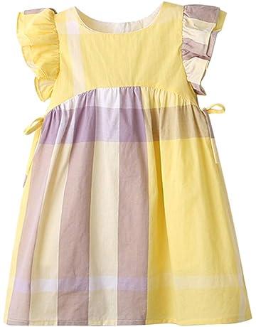 fac343923b ☺HWTOP Prinzessin Kleider für Kleinkind Kinder Baby Mädchen Sommerkleid  Plaid Print Prinzessin Bowknot Party Casual