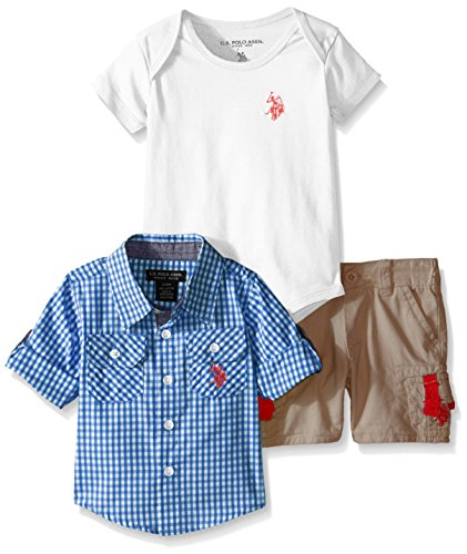 U.S. Polo Assn. Boys' 3 Piece Gingham Check Sport Shirt, V-Neck T-Shirt and Twill Cargo Short, Blue/White, 18 Months (V Baby T-shirt)