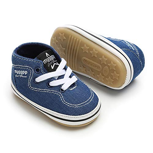 Baby Girls Boys Canvas Shoes Soft Sole Toddler First Walker Infant High-Top Ankle Sneakers Newborn Crib Shoes (S: 4.25 inch(0-6 Months), D - Navy)