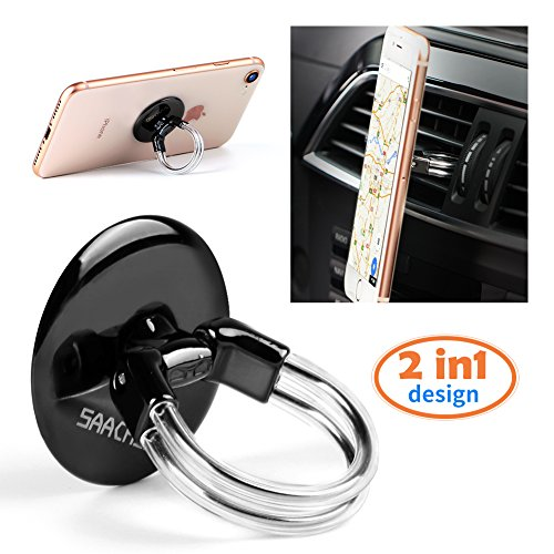 Phone Ring Holder Stand, 2 in 1 Universal Air Vent Car Phone Mount and Finger Grip Ring, 360°Rotation & 180°Flip with Strong Sticky Gel Pad compatible with iPhone X/8/7/6s/Plus, Galaxy S9/S8/S7/S6