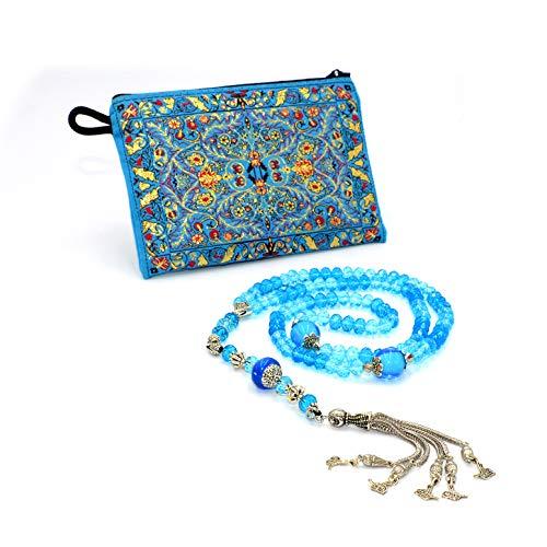 Special for Women Muslim Prayer Beads, 99 Beads - 15 Elegant Model - (8 mm 99 Beads) Tesbih-Tasbih-Tasbeeh-Misbaha-Masbaha-Subha-Sebha-Sibha-Worry Beads (3D Light Blues) ()