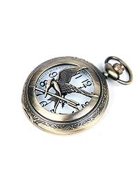 The Hunger Games Moive Bronze Half Hunter Quartz Movement Pocket Watch w/ Gift Chain Bwen