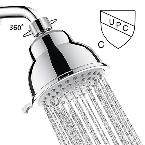 (2019 Shower Head - 4″ High Pressure Anti-leak Anti-clog 5 Function Chrome Showerhead - Adjustable Metal Swivel Ball Joint with Filter - Be applicable Low Pressure and Water Flow (4''))