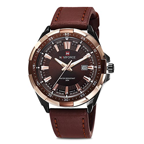 Men's Analog Quartz Watch, Casual Classic Leather Quartz Analog Wrist Business Stainless Steel Waterproof Wristwatch