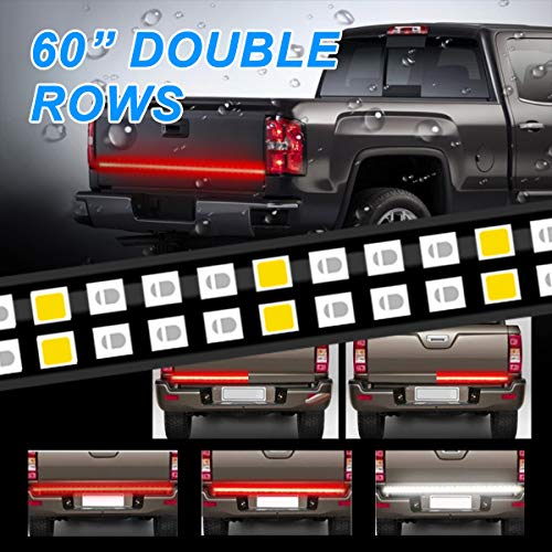 - LPENG 60'' double Rows LED Truck Tailgate Light Bar Strip Red/White Reverse Brake Stop Turn Signal Parking Running Weatherproof No-Drill Installation Universal truck car SUV