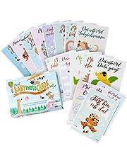 moril Baby Photo Cards - 65 stabile Baby Erinnerungskarten für Meilensteine des 1. Lebensjahres | Meilensteinkarten Babykarten