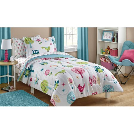 Owl Life White Pink Green and Blue Owl Bird Cute Kids Bedding Set (5 Piece Bed in a Bag) (Full
