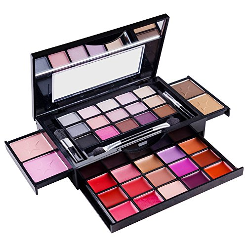 SHANY Fierce Flawless All-in-One Makeup Set Compact with Mirror, 15 Eye Shadows, 2 Bronzers, 2 Blushes and 15 Lip Eye Glosses – Applicators Included