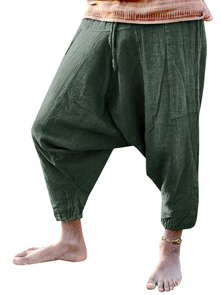 Beotyshow Mens Harem Boho Hippie Pants Gypsy Baggy Pants Low Crotch Slacks Chino Pants Joggers for Men