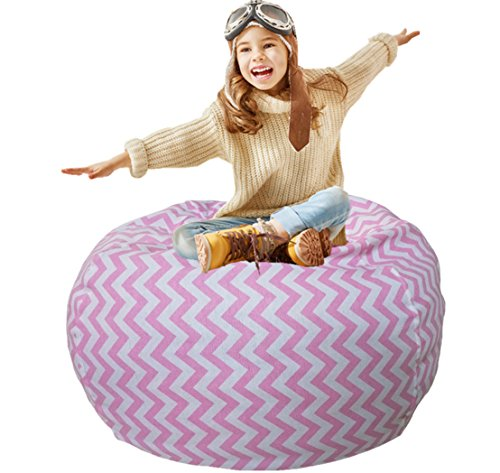 Kids Bean Bag | Toy Storage | Children's Chair Cover | Children Chair | Soft Toy Bag | Kids Toys Organizer | Bean Bag Cover | Comfy Chair Comfortable Seating for Kids Pink Wave Stripes