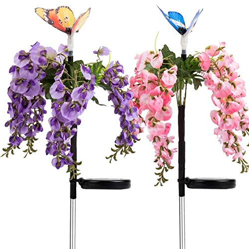 Solar Garden Stake Decorations Lawn Flower Lights Outdoor, Multi Color Changing Christmas Party Light with Butterfly LED Landscape Lights Waterproof for Yard Patio Backyard Pathway (Butterfly Light)