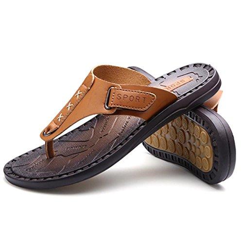 SHANGXIAN Deslizadores del verano de los hombres sandalias genuino cuero clásico Moda Casual Anti-que patina Yellow