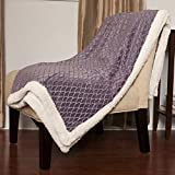 Sweet Home Collection Mermaid Sherpa Reversible Poly Faux Lamb's Wool Throw Blanket, Purple, 50'' x 60''
