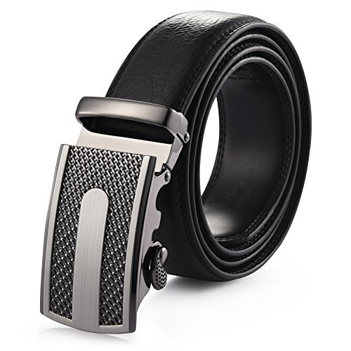 Automatic Belt - Vbiger Leather Belts for Men with Automatic Buckle Longer than 47inch (47.2'', Black 4.)
