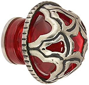 Atlas Homewares MG10-R 2-Inch Tangeres Glass Knob from the Tangeres Collection, Red