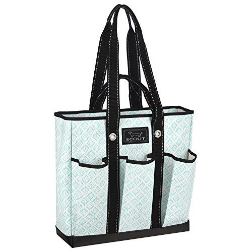 SCOUT Pocket Rocket Multi-Pocket Tote Bag, 6 Exterior Pockets, Interior Zipper Pocket, Two Handle Lengths, Water Resistant, Wipes Clean, Zips Closed, Aqua Fresca