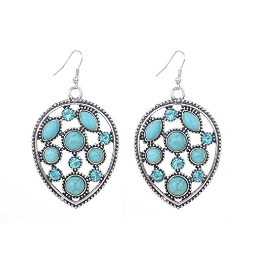 DVANIS Tibetan Silver Inlay Crystal Turquoise Waterdrop Shape Hook Drop Dangle Earrings Jewelry