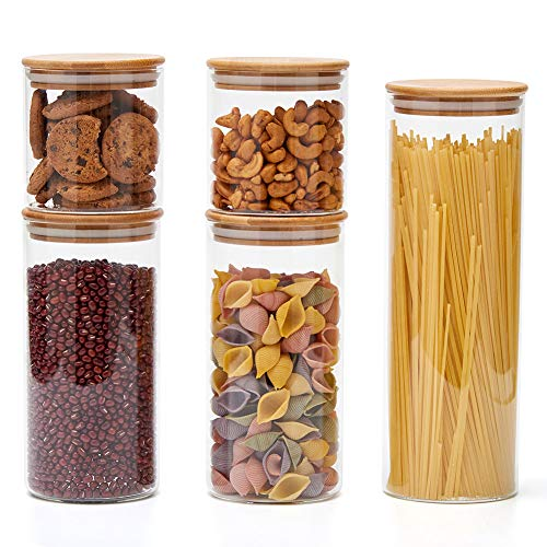 EZOWare 5 Piece Clear Glass Food Storage Jars Air Tight Canister Kitchen Container Set with Natural Bamboo Lids for Candy, Cookie, Rice, Sugar, Flour, Pasta, Nuts