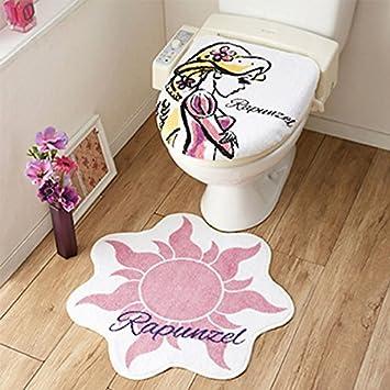 Amazonラプンツェルのイラストが大人かわいいトイレ2点セット 蓋カバー