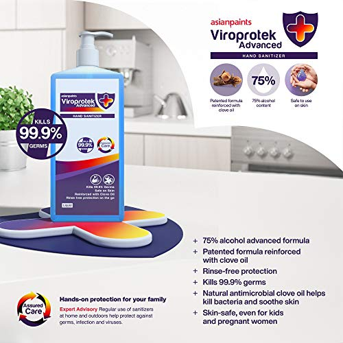 Asian Paints Viroprotek Advanced Liquid Hand Sanitizer, Blue, Clove, (5 x 100 ml)