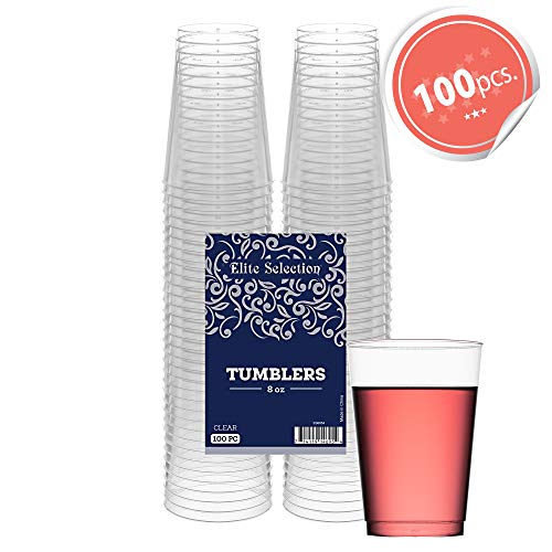 (Clear Disposable Plastic Cups 8 Oz. Pack Of (100) Fancy Hard Plastic Cups - Party Accessories - Wedding - Cocktails- Tumblers)