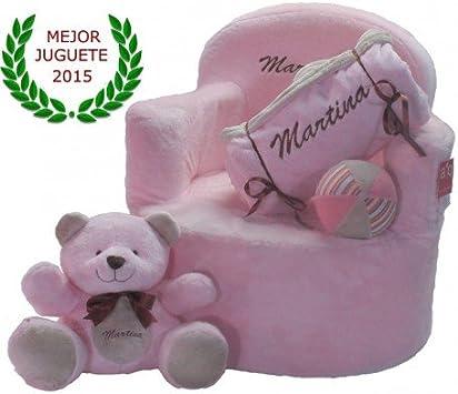Set bebé personalizado (sillón + manta + osito + pelota) (Rosa ...