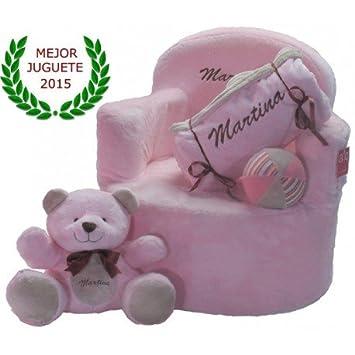 Set bebé personalizado (sillón + manta + osito + pelota) (Rosa)