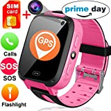 "Kids Smart Watches with Free SIM Card- 1.44"" Touch GPS Tracker Wrist Smart Watch Phone for Boys Girls with Camera Pedometer Wearable Smartwatch Bracelet Children Birthday Holiday Prime Gifts (Pink)"