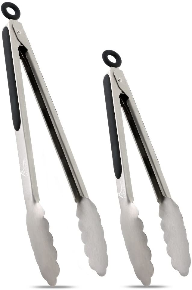 """9/"""" and 12/""""Kitchen Tongs and Brushes,with Built in Stand,Stainless Steel Design,Locking Clip Kitchen Tongs,Cooking Tongs Set Kitchen Cooking for BBQ"""