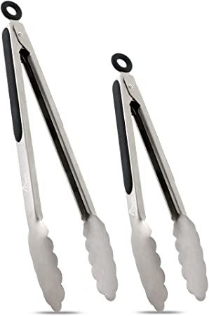 Amazon Com Hotec Stainless Steel Kitchen Tongs Set Of 2 9 And 12 Locking Metal Food Tongs Non Slip Grip Black Garden Outdoor