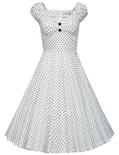 MUXXN Women's Retro 1960s Sweetheart Neckline Spring Graden Party Picnic Dress (White Dot XL)