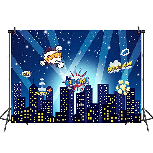 (Mehofoto Superhero Backdrop Superhero City Skyline Comics Photography Background 7x5ft Superhero Party Decoration Photo Backdrops for Children Kids Birthday Baby)