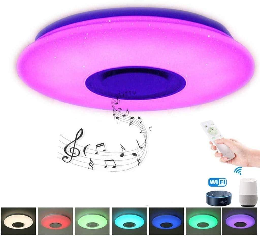 LBSX 42 '' Ventilador de Techo con luz y Smart Altavoz Remoto Bluetooth 3-Luces de Color de la Hoja retráctil Blanco Fresco 3000K-6500K Temperatura de Color, 2976 Lumen, de Montaje Empotrado Luz