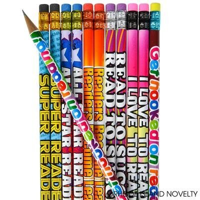 4 DOZEN (48) READING - GREAT Reader Student - Motivational PENCILS #2 Lead - I LOVE to READ - PARTY FAVORS - CLASSROOM Rewards TEACHER