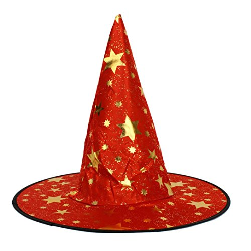 Robiear Unisex Halloween Costume Stars Print Cap Witch Hat (Red Witch Hat)