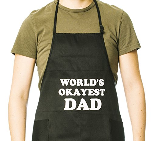 Dad Apron (Funny Guy Mugs World's Okayest Dad Adjustable Apron with Pockets - Father's Day Gift for Dad - Funny Apron - Perfect for BBQ Grilling Barbecue Cooking - 4th of July - For the Man Who Has Everything)