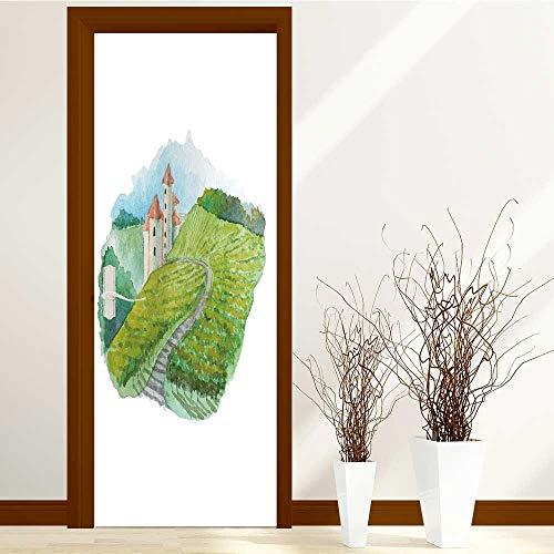 (SCOCICI1588 Fashion Art Decor Door Sticker watercolor vineyard landscape scene french wine label illustration raster artwork for Home Decorations W36 x H79 INCH)