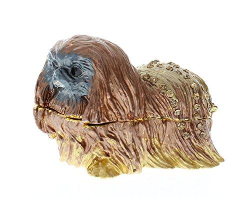 Pekingese Puppy Dog Rhinestone Collectible Hinged Trinket Box