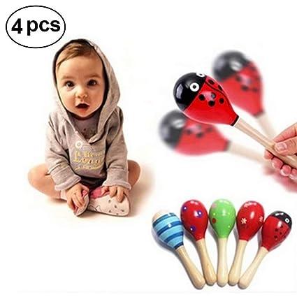 7b541b452 Wooden Maracas,Fiesta Maracas,Sand Hammer,Mini Wooden Ball Sand Hammer,Baby