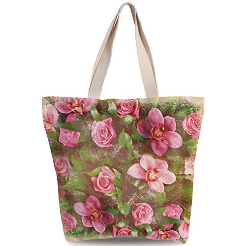 SCOXIXI Unique Durable Canvas Tote Bag,Shabby Chic Decor,Romantic Retro Floral Composition Grunge Wedding Corsage Art,Green Pink Light Pink,Canvas Shopping bag,shoulder handbags,Shoulder Bag (Corsage Purse Pinks)