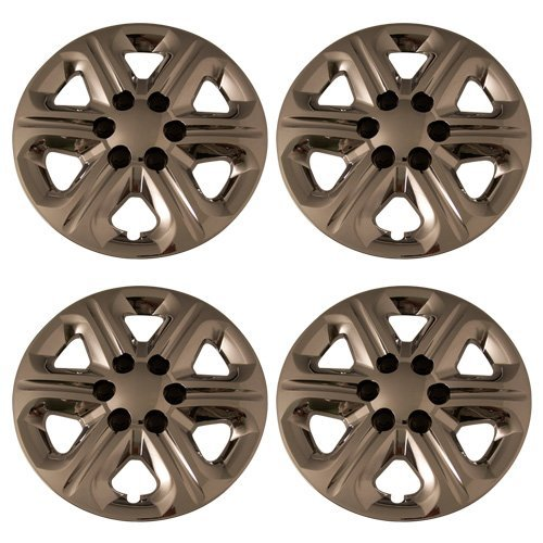 (Set of 4 Chrome 17 Inch 6 Spoke Chevy Traverse Hubcaps w/ Bolt On Retention System - Aftermarket: IWC454/17C)