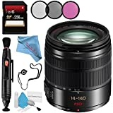 Panasonic Lumix G Vario 14-140mm f/3.5-5.6 ASPH. POWER O.I.S. Lens (Black) + 58mm 3 Piece Filter Kit + 256GB SDXC Card + Lens Pen Cleaner + Fibercloth + Lens Capkeeper + Deluxe Cleaning Kit Bundle