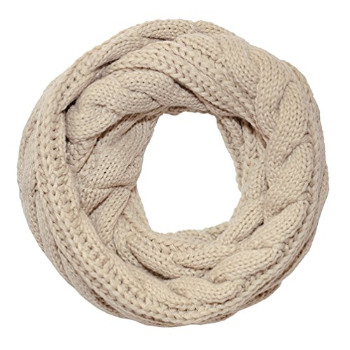 Hitop Women's Thick Ribbed Knit Winter Infinity Twist Cable Circle Loop Scarf, Beige, Medium