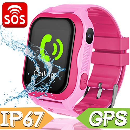 Kids Smart Watch Phone for Girls Boys - IP67 Waterproof GPS Tracker Locator Touch Camera Games SOS Outdoor Digital Wrist Cellphone Watch Bracelet for Holiday Birthday Gifts(Pink)