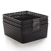 BINO Woven Plastic Storage Basket, Medium– 3 PACK (Black)