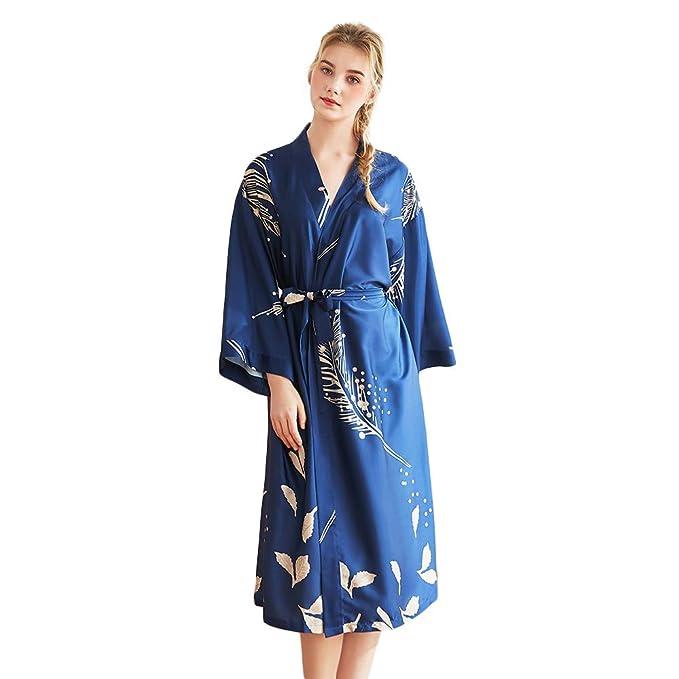 Acqrobe Bata de satén para Mujer Dama de Honor Kimono Bata Seda Fiesta Nupcial Vestido Largo SPA Lounge Ropa de Dormir: Amazon.es: Ropa y accesorios